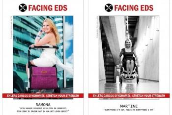 Facing EDS posters van Ramona en Martine, onze rollator of rolstoel geeft ons onze vrijheid terug