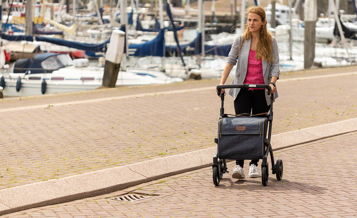 Young girl walking with a Rollz Flex rollator