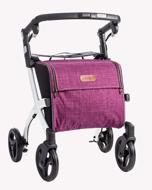 Rollz Flex rollator met wit frame en paarse tas