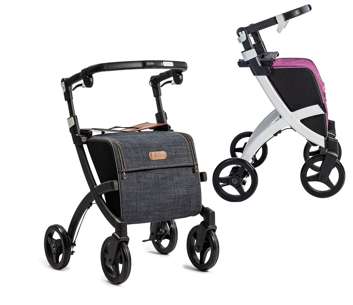 Rollz Flex, zwart frame, denim grey tas, klassieke rem en Rollz Flex, wit frame, bright purple tas, fliprem