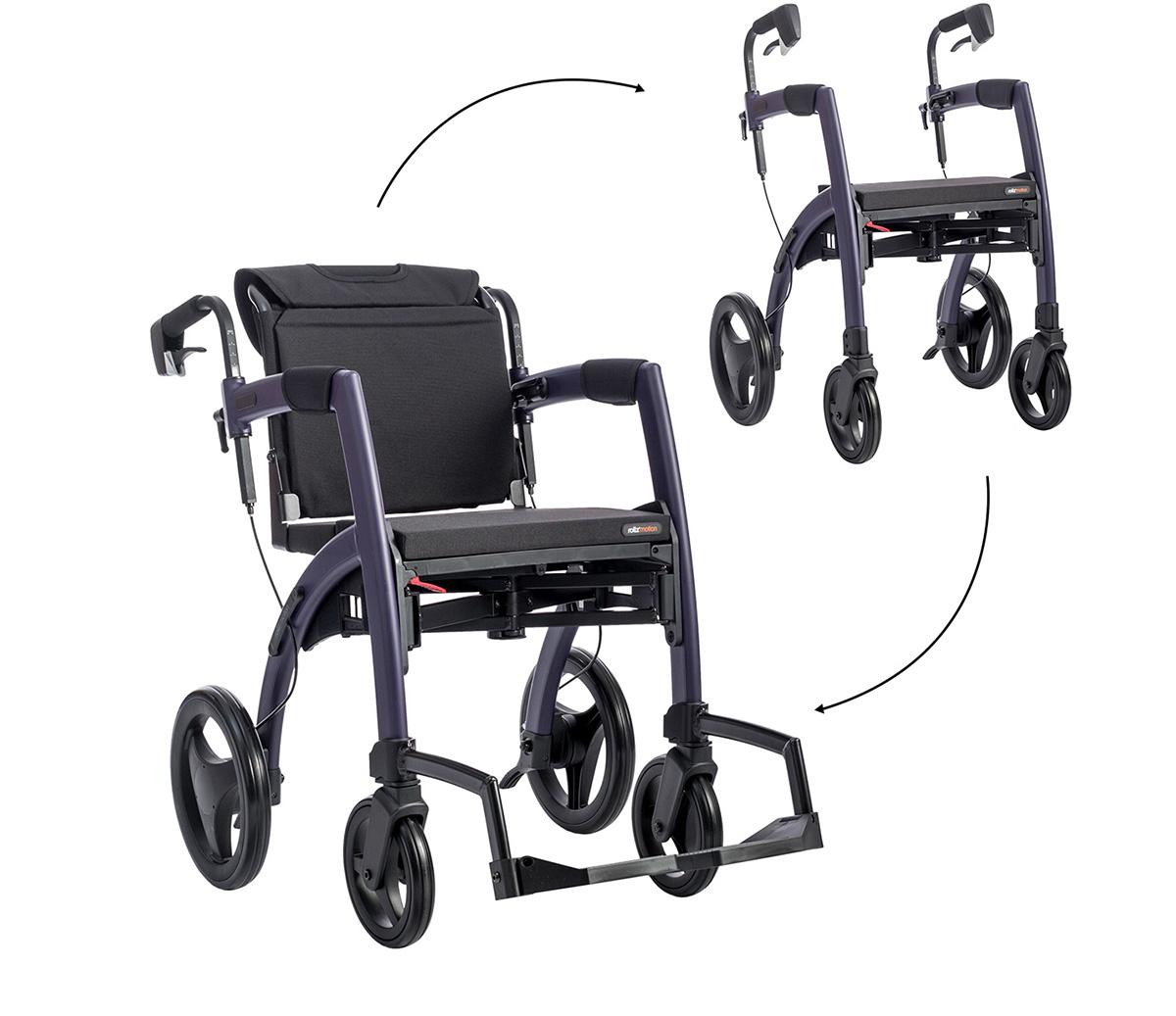 Een donkerpaarse Rollz Motion getoond in rollator- en rolstoelposities