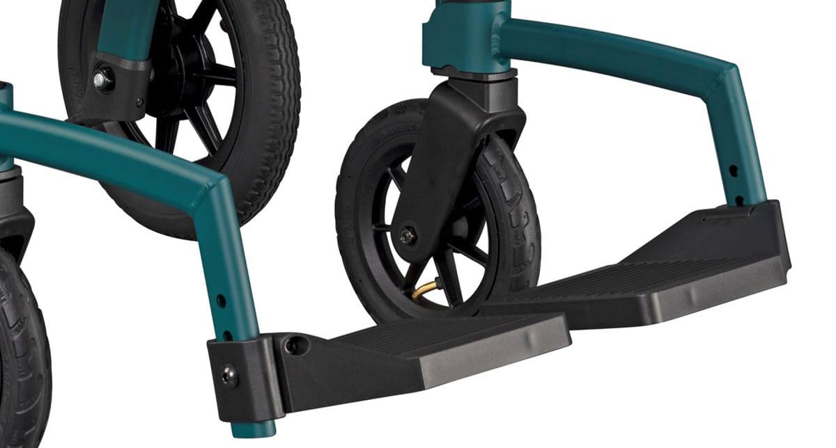 Verstelbare voetsteunen van de Rollz Motion Performance rolstoel