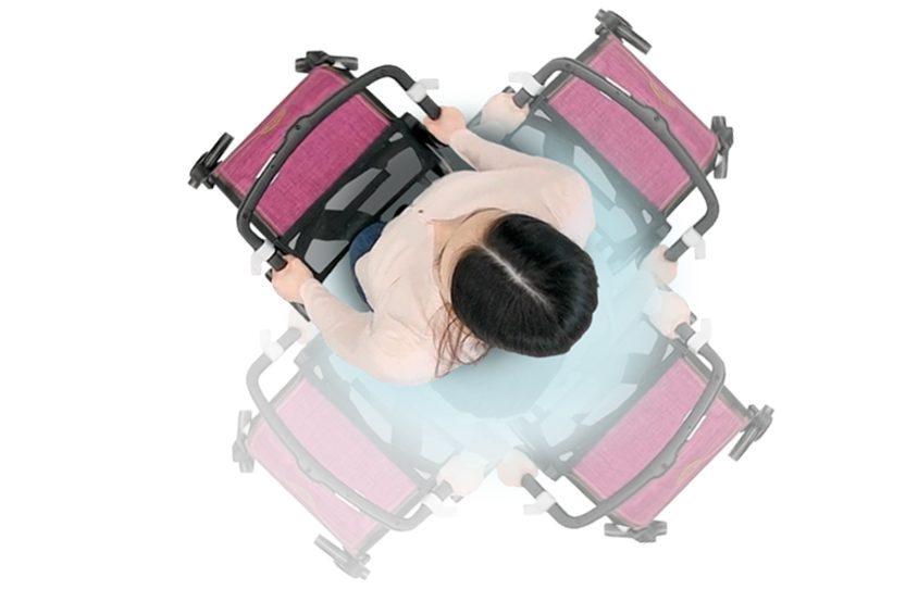 Draaicirkel van een Rollz Flex lichtgewicht rollator