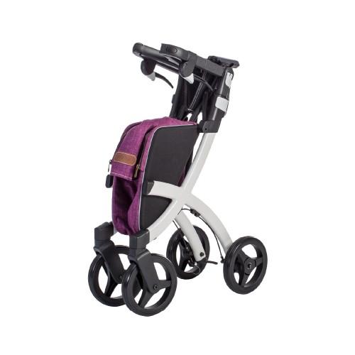 Rollz Flex klassieke rem, wit frame, bright purple tas, normale maat, opgevouwen