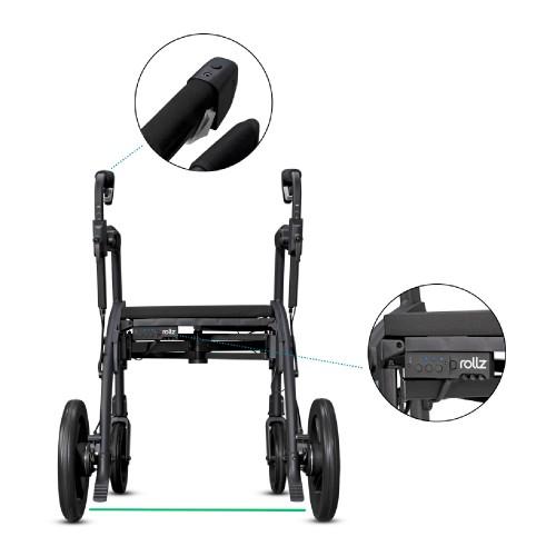 Rollz Motion Rhythm rollator met module en knop op de handgrepen