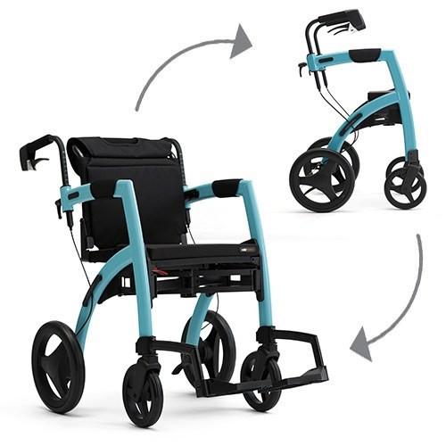 De Rollz Motion² rollator en rolstoel in Island Blue.