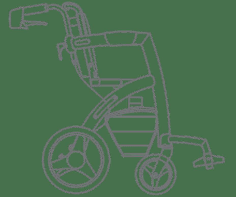 Tekening van de Rollz Motion 2 rollator en rolstoel