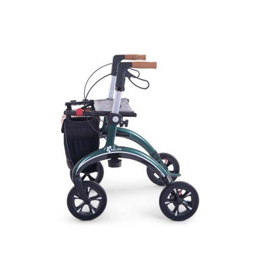 Carbon rollator green color, small size, from side