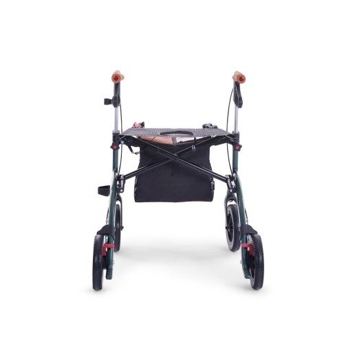 Carbon rollator green color, small size, from back