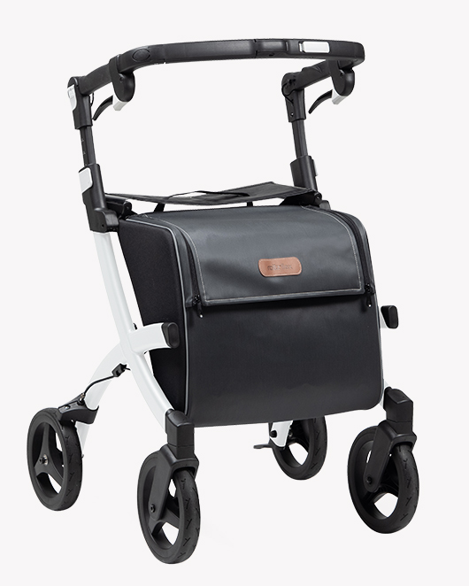 Rollz Flex 2 rollator met wit frame en smokey grey tas